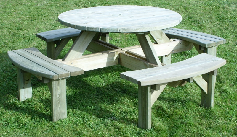 Wooden Garden Furniture Picnic Tables and Garden Benches  : Circular Picnic Table New Design WYC S 800x464 from www.timberstoreuk.co.uk size 800 x 464 jpeg 326kB